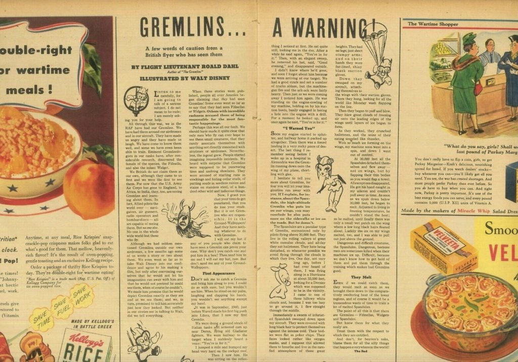"""Gremlins... A Warning"" from April 1943 ""This Week Magazine"""