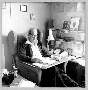 Roald Dahl in his writing hut