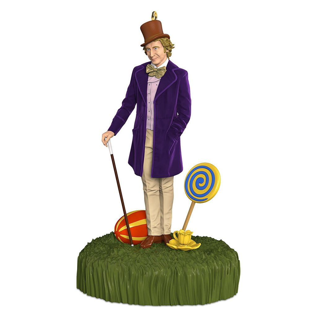 enter a world of pure imagination with this christmas ornament that features willy wonka dressed in his signature purple overcoat and brown top hat as he