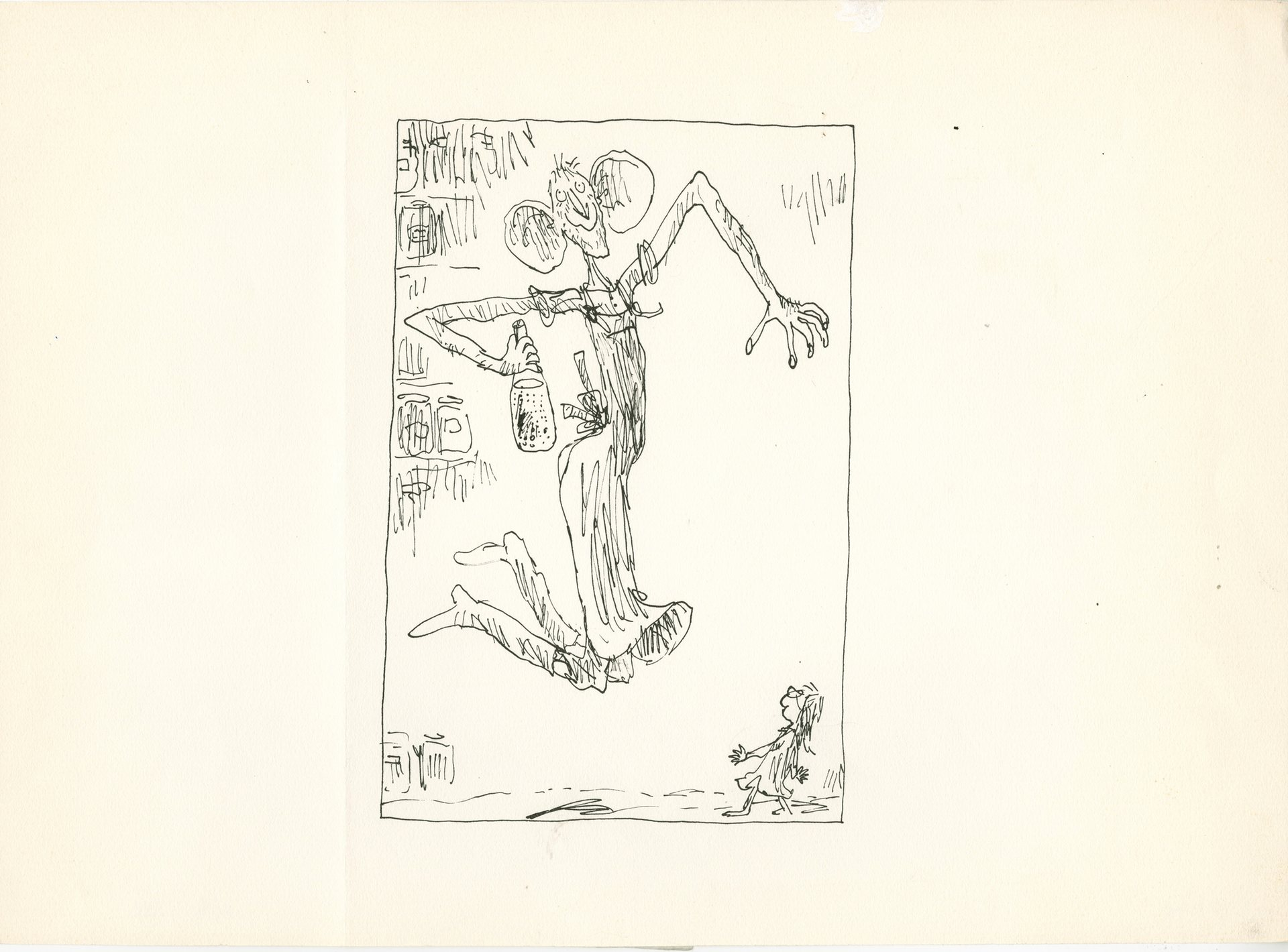 Unpublished BFG illustration by Quentin Blake